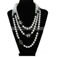 soprannaturale doppia C Chanel perle di vetro Collana di gioco #CocoChanelAccessory #Fashion #orecchiniccreplica