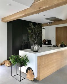 Don't you just love the beautiful kitchen of 👈🏻 Ferm Living large plant box in black is now available in our sale✨ . Grey Kitchen Designs, Interior Design Kitchen, Open Plan Kitchen, New Kitchen, Scandinavian Home, Beautiful Kitchens, Apartment Therapy, Sweet Home, House Design