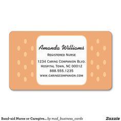 Cute nurse or caregiver business card caregiver business cards band aid nurse or caregiver business card colourmoves Choice Image