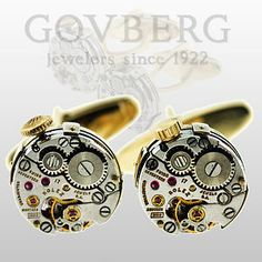 Rolex Movement Cuff Links with 18kt Yellow Gold Backs | eBay