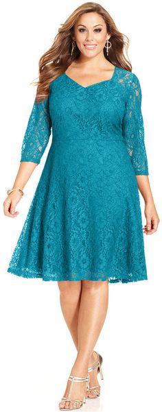 Plus Size Three-Quarter-Sleeve Lace A-Line Dress