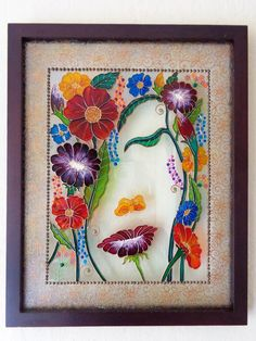 Flower art Glass painting Bohemian decor Wall decor Painted glass by on Etsy Glass Painting Patterns, Glass Painting Designs, Stained Glass Patterns, Paint Designs, Stained Glass Paint, Fused Glass Art, Art Floral, Bohemian Painting, L'art Du Vitrail