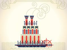 Mississippi Steam Boat  by Alex Perez 2012  http://dribbble.com/shots/552248-Mississippi-Steam-Boat