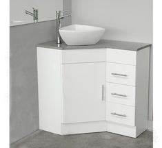 The Designer Range lets you unleash your creative streak. You can fully customise basins, tapware, bench surface, cabinet and more. Our corner vanity unit offers the ultimate in space saving convenience. Vanity bench tops are available in Caesarstone in a large range of colours.Dimensions: 600mm (D) x 900mm (W) x 840mm (H)Corner cabinet with right hand drawers.Sizes are approximate. Please measure before installing.Basin and tapware sold Separately