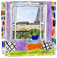 Parisian Library with Pillows