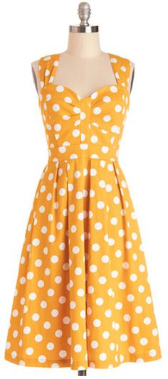 darling yellow dotted summer dress