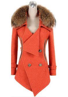 Orange Plain Buttons Pockets Belt Wrap Wool Coat