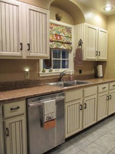 DIY Beadboard Kitchen Cabinets, glazed cabinets