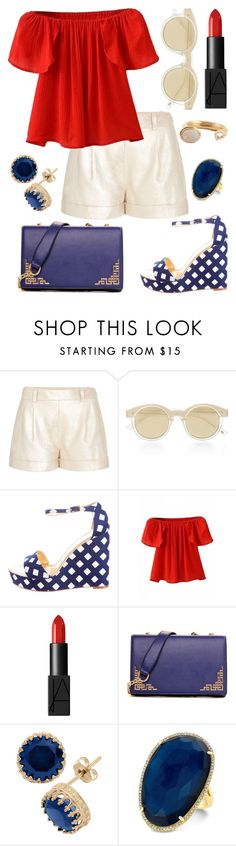 """""""Summer Picnic - #2"""" by kk-purpleprincess ❤ liked on Polyvore featuring Diane Von Furstenberg, Le Specs, Kate Spade, NARS Cosmetics, Gioelli Designs and Kelly Wearstler"""