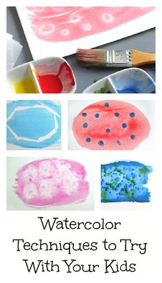 Playing with Art Materials: watercolor techniques for kids. I love watercolor because it's beautiful and because it's QUICK--perfect for impatient painters. Is there anybody more impatient than kids? Kids Crafts, Craft Activities For Kids, Projects For Kids, Art Projects, Painting & Drawing, Watercolor Techniques, Watercolor Projects, Paint Techniques, Ecole Art