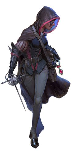 """f Rogue Assassin Leather Armor Cloak Rapier poison mask urban City undercity we-are-rogue: """" The Black Viper, NPC from Waterdeep: Dragon Heist Rogue Character, Female Character Design, Character Design Inspiration, Character Concept, Character Art, Character Ideas, Character Prompts, Concept Art, Black Characters"""