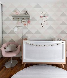 Pink and Gray Triangle Accent Wall - mod look in a baby girl nursery!
