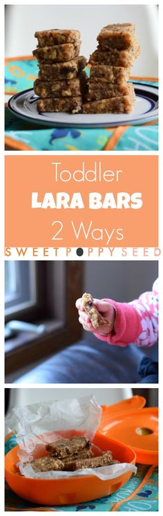My toddler's absolute favorite snack! Easy, naturally sweetened and packed with fiber and protein. Perfect for little hands. My toddler might be tiny but she can eat. And one of her favorite snacks that fuel her day are Toddler Lara Bars ways). Baby Food Recipes, Vegan Recipes, Snack Recipes, Toddler Recipes, Delicious Recipes, Tasty, Yummy Food, Healthy Foods To Eat, Healthy Snacks