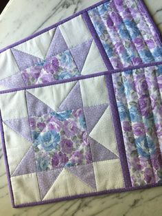 Shabby Chic Mug Rugs - Mini Quilts - Place Mats - Candle Mats - Lavender - Blue - White - Floral - Sawtooth Star - Set of 2 by KeriQuilts on Etsy