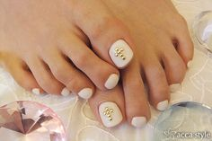 Gold and White Wedding. Manicure, Pedicure, Nails. . White Pedicure with stud cross.