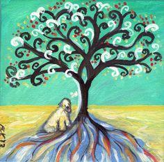Soft Coated Wheaten Terrier love -  spiritual tree original dog painting