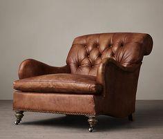 restoration hardware, carlton leather club chair in tobacco