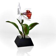"""Cattleya Purpurata Orchid by Hung Nguyen (Art Glass Sculpture) (17"""" x 16"""")"""