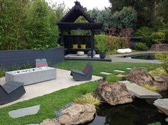 Exterior design Ideas For Modern Gazebo Garden Pavilion, Garden Gazebo, Backyard Pool Designs, Pergola Designs, Modern Landscaping, Outdoor Landscaping, Landscaping Ideas, Modern Gazebo, Diy Home Decor On A Budget
