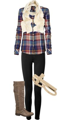 """Leggings or dark jeans, flannel, white scarf, cross ring or bracelet, and riding boots! """"Untitled #75"""" by bellalee2000 on Polyvore"""