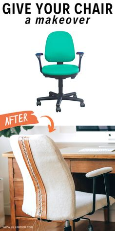 Here's how to give your office chair a complete makeover. #furnituremakeover #DIYhomedecor