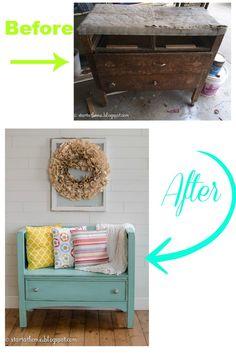 DIY dresser turned bench
