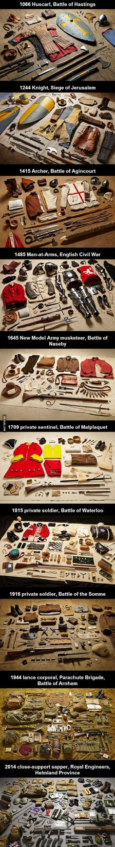 The Evolution of how-much-stuff-soldiers-have-to-carry AND Historical Military Uniforms from the last years (good medieval sampling) Armadura Medieval, Templer, Landsknecht, Medieval Armor, Knights Templar, Interesting History, British History, American History, Native American