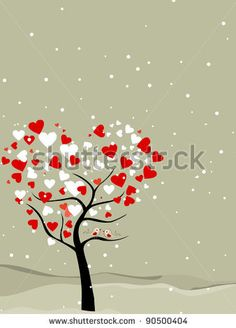 stock vector : valentine tree with hearts shape, snow flakes  & love birds, greeting card for valentines day.