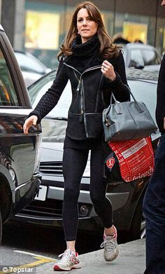 """The Duchess of Cambridge was spotted shopping at Lululemon wearing Temperley London's """"Black Leather and Suede Gilet"""" and black """"Honeycomb Sweater"""". She also wore black GAP leggings and accessorized with her ASICS """"Gel-Oberon 8"""" tennis shoes, TOD's """"D Bag"""" and Annoushka pearl drop earrings."""