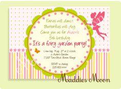 Fairy Garden Party Birthday Invitation Printable by maddiesmoon, $12.00