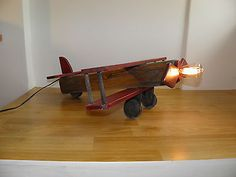 Wooden  Biplane Industrial Table Lamp Airplane Decor Vintage Style Man Cave Toy Wooden Airplane, Airplane Decor, Man Cave Toys, Vintage Fashion, Vintage Style, Industrial Table, Decoration, Fans, Table Lamp