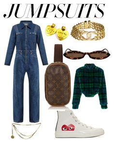 """Jumpsuits"" by amarice1 ❤ liked on Polyvore featuring RE/DONE, Play Comme des Garçons, Chanel, Louis Vuitton, Esteban Cortazar and jumpsuits"