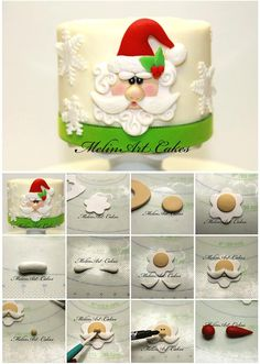 Santa cake tutorial - Great tutorial for making a great looking Christmas cake Christmas Cake Decorations, Christmas Cupcakes, Christmas Sweets, Christmas Cooking, Holiday Cakes, Christmas Goodies, Father Christmas, Xmas Cakes, Fondant Figures