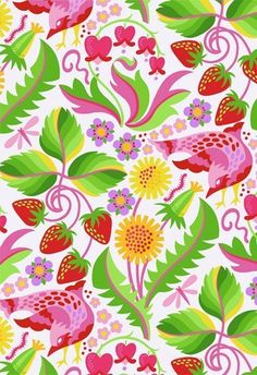 Early Birds by Jane Sassaman for FreeSpirit Fabrics - Strawberry Serenade Strawberry PWJS39