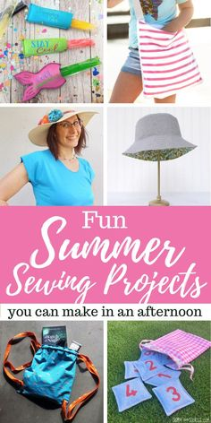 Fun Summer Sewing Projects to Make in an Afternoon Small Sewing Projects, Diy Craft Projects, Sewing Hacks, Sewing Tutorials, Sewing Crafts, Sewing Tips, Sewing Ideas, Home And Family Crafts, Summer Tote Bags