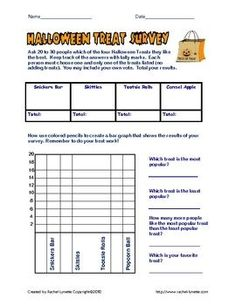 Great Halloween activity - first part is homework as students poll friends and family members. Then they use their data to create bar graphs.