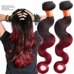 "Unprocessed Ombre Human Hair Extensions 10""-30"" Body wave 1B BURG# 50g/pcs #wigiss #HairExtension"