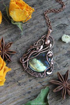 Copper pendant, Wire wrap necklace, Wire wrapped jewelry handmade, labradorite  pendant