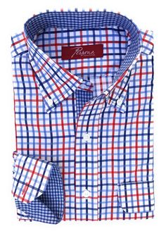 Persona Premium Dress Shirt Blue and red plaid with small blue plaid accents