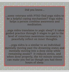 June is PTSD Awareness Month - Please read the posts this month & educate others - Yoga Nidra. Help our veterans, & others who are afflicted with this condition, by better understanding their plight. #mindfulness #trauma #disconnecttoreconnect  #ptsd #ptsdsucks #ptsdtecovery #intervention #ptsdawareness #therapy #yoga #invisibleillness #ptsdisreal #brainhealth #brain #cognitivepsychology #ptsdisreal #sleep #cope #yoganidrasana #perception