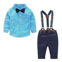 Cheap boys clothes Buy Quality baby boy clothes 2016 directly from China boy brand clothes Suppliers: Baby Boy Clothes 2016 Spring New Brand Gentleman Plaid Clothing Suit For Newborn Baby Bow Tie Shirt + Suspender Trousers Baby Outfits, Plaid Outfits, Newborn Outfits, Wedding Outfits, Suspenders Outfit, Bowtie And Suspenders, Overalls Outfit, Fashion Kids, Style Fashion