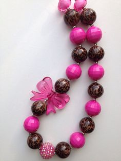 leopard and pink chunky necklace.. Chunky bead by GirlzNGlitter, $16.50