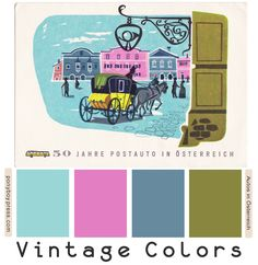 This pretty vintage color palette comes from a 1957 postcard celebrating 50 years of the automobile in Austria. Vintage Color Schemes, Vintage Colour Palette, Colour Pallette, Colour Schemes, Vintage Colors, Color Combos, Hex Color Codes, Horror House, Shabby