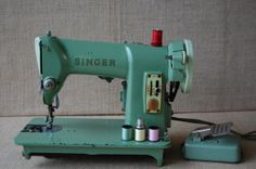 Vintage Industrial Singer Sewing Machine Sage by PickersWarehouse, $98.00