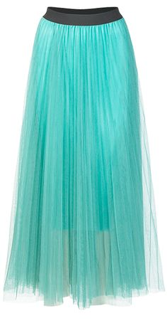 Chiffon Layer Maxi Skirt, as seen In InStyle.co.uk (flared sheer pleated skirt with wide contrast elasticated waistband) £22