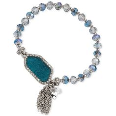 lonna & lilly Silver-Tone Large Stone and Tassel Stretch Bracelet ($28) ❤ liked on Polyvore featuring jewelry, bracelets, silver, silvertone jewelry, stretch bracelet, stretchy bracelet, stone jewelry and bracelet jewelry