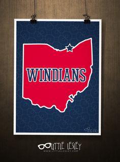 Windians  Cleveland Indian Poster by LittleLesley on Etsy, $15.00 #littlelesley #windians