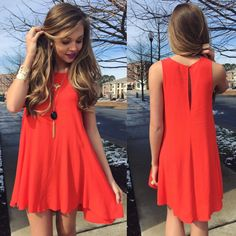 Swingy dress #swoonboutique Modest Homecoming Dresses, Grad Dresses, Cute Dresses, Casual Dresses, Fashion Dresses, Cute Outfits, Summer Dresses, Couture, Dream Dress