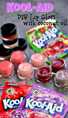 Make Your Own Kool-Aid Lip Gloss                                                                                                                                                                         (How To Make Lipstick Without Coconut Oil)