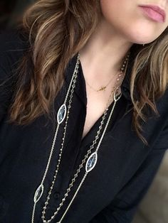 When layering necklaces, varying lengths is key, even if they are just an inch or two apart in length. The marquis shaped Kendra Scott necklace has translucent stones (similar style on SALE here) that compliments the white topaz Anu chain (no longer available), without being too matchy-matchy.